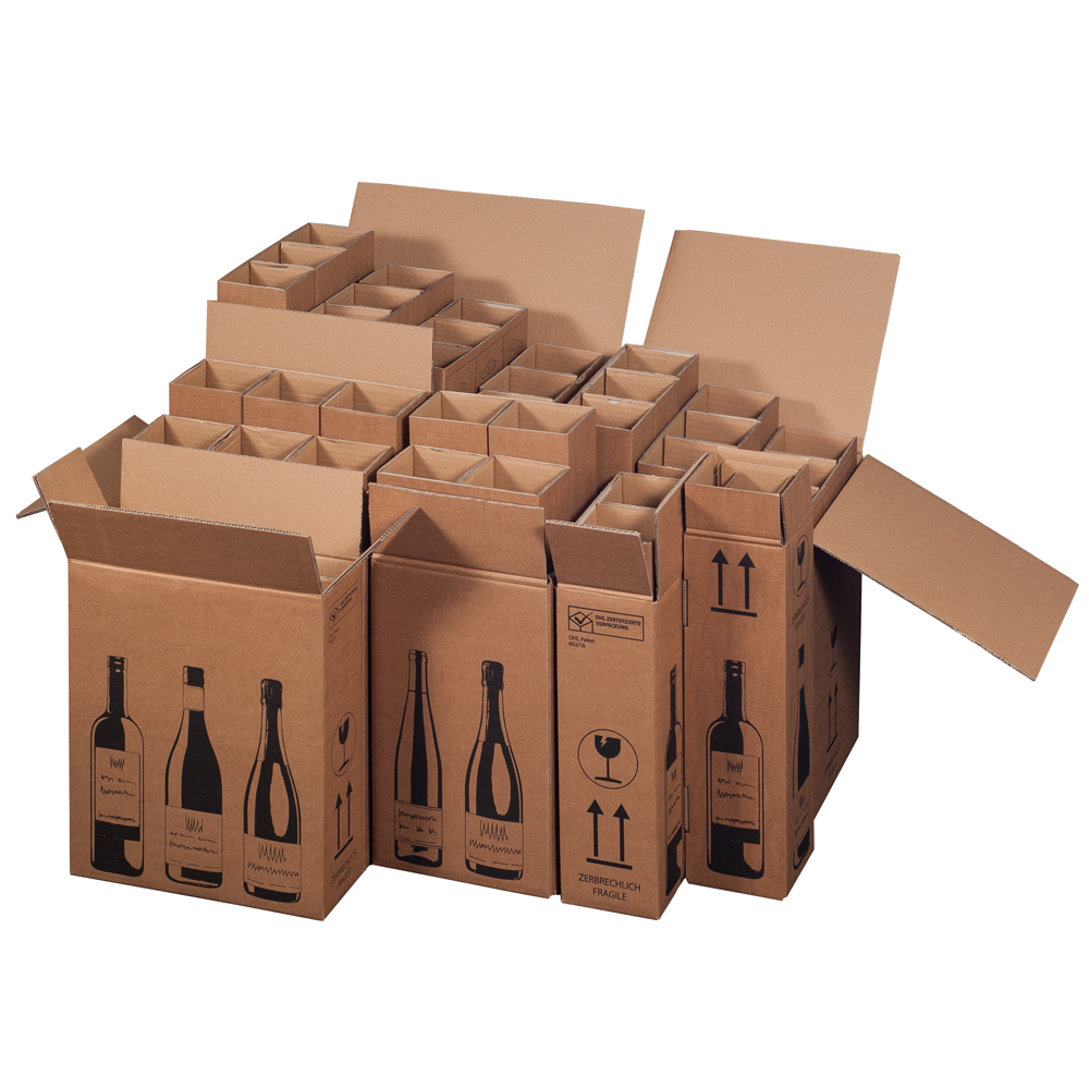 Flaschenversandkartons Weinversandkartons Flachschenverpackung Weinversandverpackung PTZ Karton
